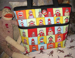 sock monkey diaper bag tote