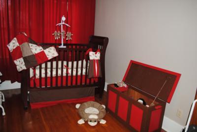 Baby Morrow's Sock Monkey Nursery w Homemade Sock Monkey Mobile