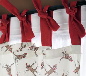 Red ivory white and chocolate brown sock monkey baby nursery curtains with tab top tie curtain panels