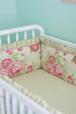 Pretty baby girl crib set made from shabby chic rose print fabric with modern geometric fabric