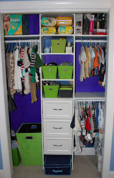 Baby boy's beautifully organized nursery closet in lime green, baby blue and white