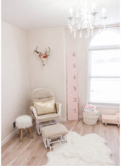Blush pink white and gold metallic baby girl nursery with southwest nursery decor.