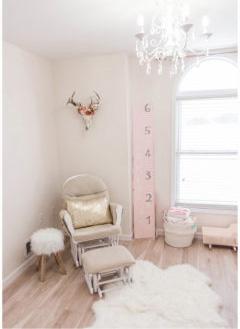 Blush pink white and gold metallic baby girl nursery with southwest nursery decor.