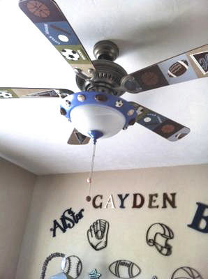 Sports theme ceiling fan blades for a baby nursery or kids room