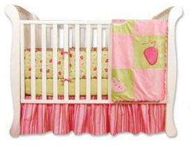 Pink green and white baby girl strawberry baby bedding crib set for a fruit theme nursery room with <br>stripes