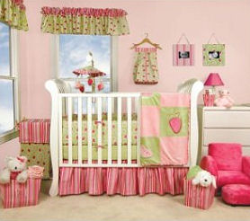 Pink and green strawberry crib set with nursery decor window valance and wall decorations