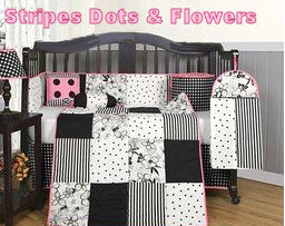 Black white and pink baby bedding sewed using stripes polka dots and floral fabrics