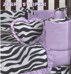 Black white and lavender purple zebra stripes baby crib bedding for a girl nursery