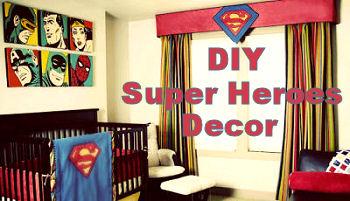 Vintage Superman Spiderman Batman Super Hero Baby Nursery Bedding and Curtains