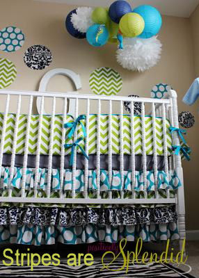Neutral baby nursery with custom baby bedding set with chevron stripes and polka dots