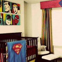 Baby Super Hero MTV Cribs nursery with Superman baby bedding and curtains