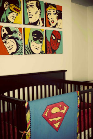 Custom made Superman baby bedding and blanket with a striped border to match the crib skirt and vintage nursery color palette
