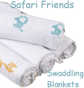 Safari Friends Swaddling Blanket Set with Giraffes and Lions