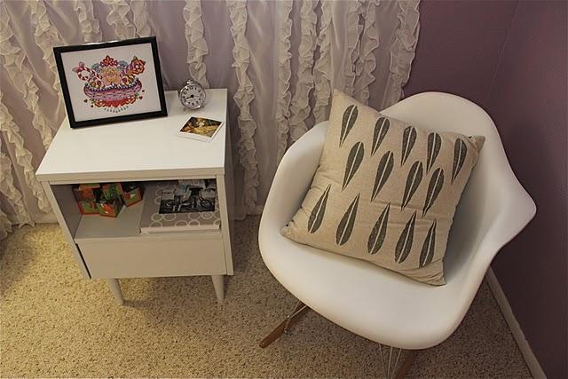 modern nursery rocking chair purple walls black and white seat cushion chair pillow