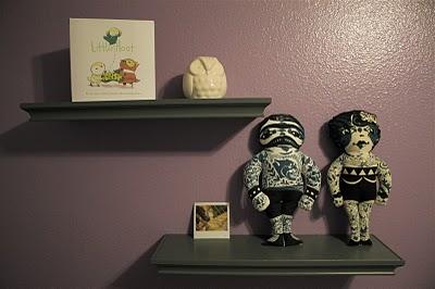purple gray white baby girl modern nursery wall decorations arrangement shelves display