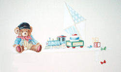 Baby boy teddy bear nursery theme with custom painted wall decorations