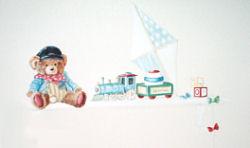Baby boy teddy bear nursery theme with custom painted wall decorations