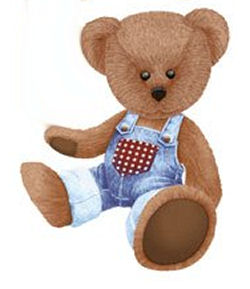 Baby teddy bear nursery wall stickers and decals in blue denim, brown and red