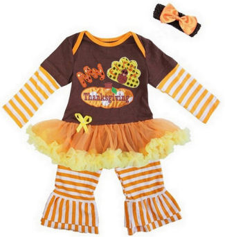 Baby girl Thanksgiving turkey body suit with tutu