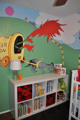Painting the Lorax trees and scenery in the baby's Seuss nursery took a very long time!
