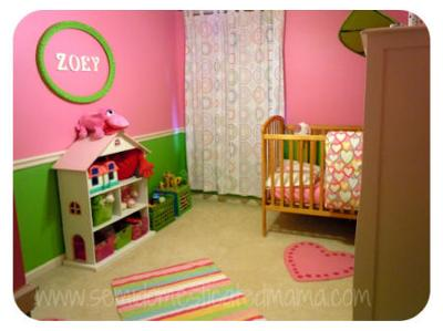 Pink and green baby nursery with crafts projects and wall painting ideas for a baby girl.