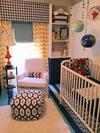 Our baby boy's nursery features window treatments made using fabrics with both chevron and houndstooth patterns as well as many DIY and crafts project ideas.