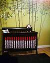 Gender Neutral Bamboo Tree Baby Nursery Wall Mural and DIY Baby Bedding and Crib Skirt