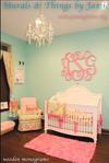 Pink and Green Nursery Decor with Aqua Wall Paint Color Monogrammed for a Baby Girl