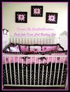Custom made pink and brown John Deere crib bedding set for a baby girl nursery