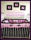 Custom made pink and brown John Deere crib bedding set for a baby girl nursery