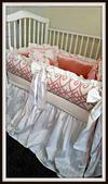 Custom pink and ivory silk and chenille princess baby crib bedding set.
