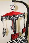 Red, Black and White Zebra Print Rockstar Baby Crib Mobile