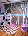 Pink, Brown and Teal Forest Nursery Theme for a Baby Girl featuring DIY Decorations and Furniture