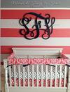 Watermelon Pink, Black and Gray Baby Girl Nursery w Pink and White Wall Stripes and a Large Wooden Wall Monogram by Jamie Givens