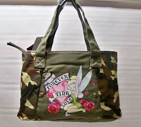 tinkerbell camouflage purse tote bag