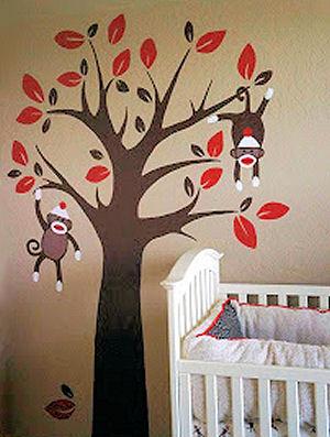 Custom hand painted tree and baby sock monkey nursery mural painting