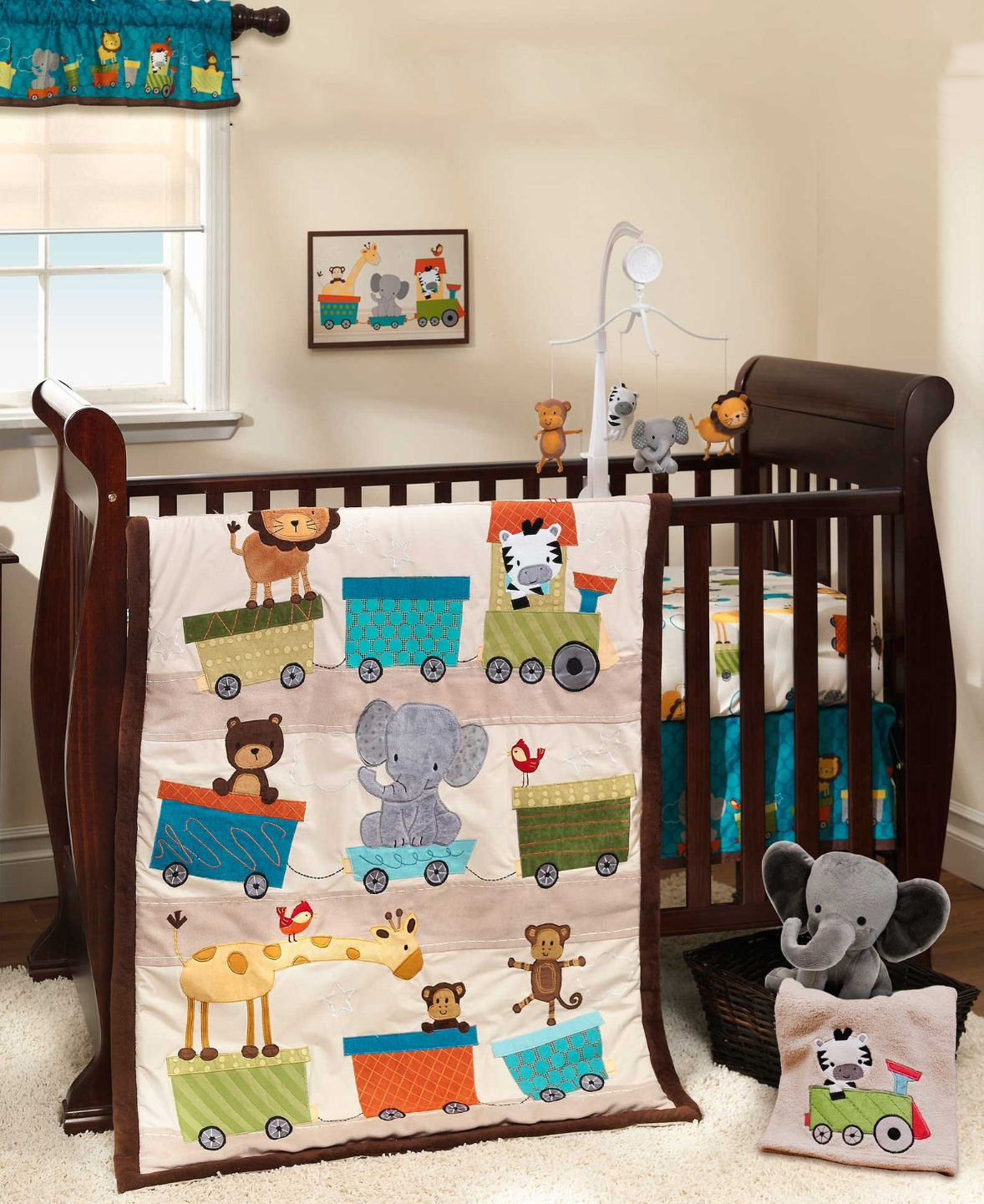 Baby circus animals train theme baby bedding for the crib with matching decor.