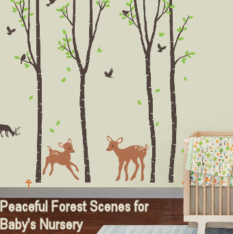 A wall decal forest filled with trees birds and whitetail deer