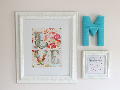 White pink and true turquoise baby girl nursery wall decorations with the letter M initial