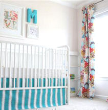 White, Pink and Turquoise Blue Baby Girl Nursery Room Decor