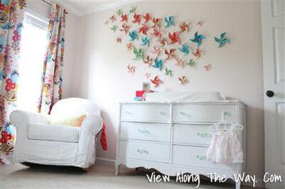 Colorful DIY pinwheel baby girl nursery wall paper crafts decorations