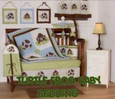 chocolate brown lime green turtle frog baby nursery crib bedding