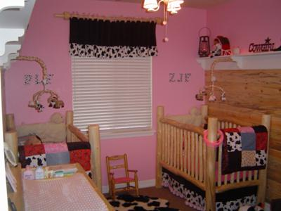 Pretty Pink Rustic Cowgirl Nursery for Twin Girls with Cow Print Crib Quilts and Baby Bedding