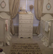 Neutral color elegant baby twin nursery pictures brown earth tones tan beige antique white luxurious custom