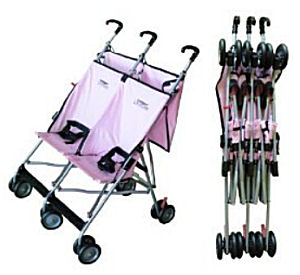 Pink lightweight double umbrella baby stroller by Lmntree