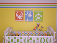 Bright Orange and Lime Green Crabs, Palm Trees and Sea Turtles Baby Nursery Theme Walls Picture