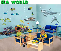 kids murals mural underwater mural pirate shark scuba diver sealife ship wreck tropical fish wall stickers decals wallies wallpaper cut outs