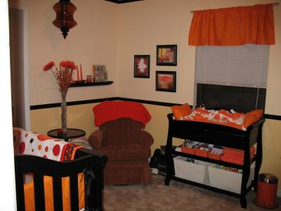 Baby Room Colors on Unique Orange And Black Gender Neutral Nursery Color Scheme For Baby