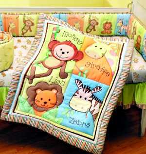 unisex baby jungle animals theme baby crib nursery bedding set