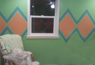 Unisex Baby Nursery Design w Argyle Pattern Wall Painting Technique using Aqua blue, peach and mint green paint.
